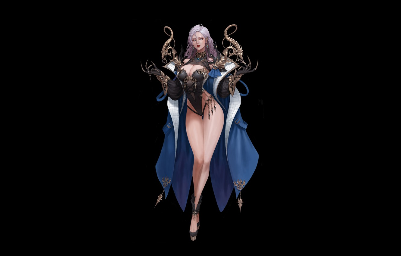 Wallpaper Girl Art Background Minimalism Dress Wizard Dark