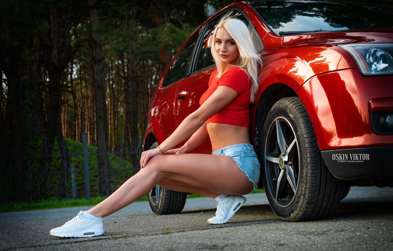 Photo wallpaper road, look, asphalt, trees, red, sexy, pose, Park, the fence, shorts, portrait, makeup, Mike, figure, …