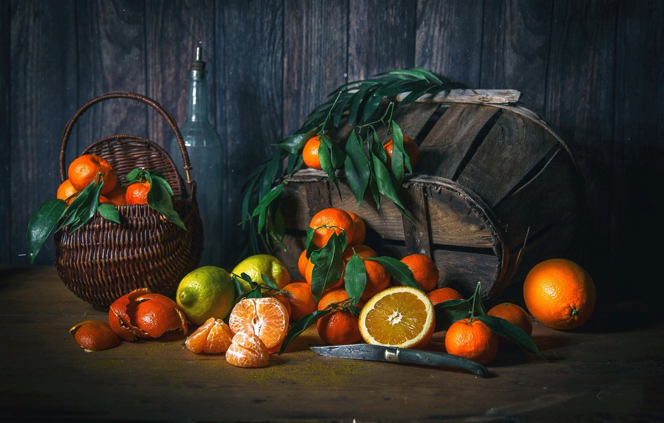 Photo wallpaper lemon, oranges, fruit, knife, citrus, tangerines