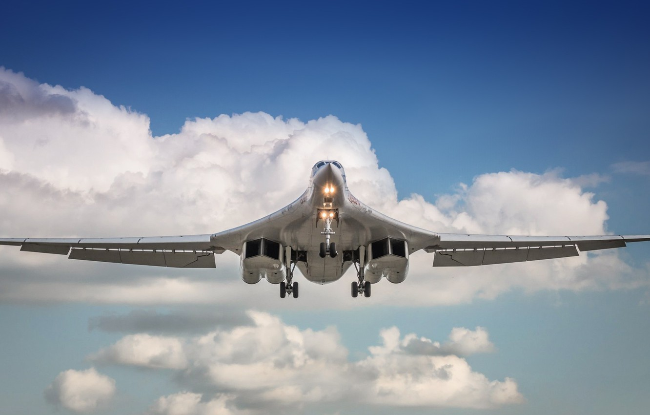 Photo wallpaper The sky, Clouds, Swan, The plane, Flight, Wings, USSR, Russia, Aviation, BBC, Bomber, Tupolev, Tu …