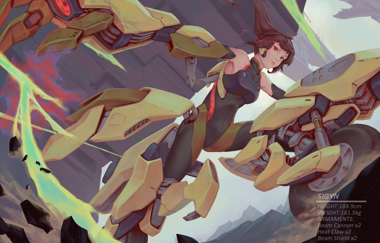 Photo wallpaper Girl, Jump, Armor