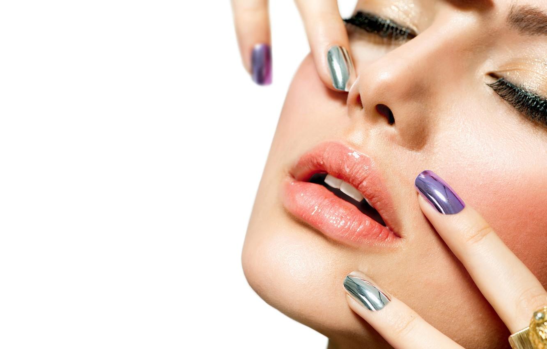 Photo wallpaper girl, close-up, face, eyelashes, lipstick, lips, mascara, white background, fingers, beauty, bokeh, manicure, closed eyes