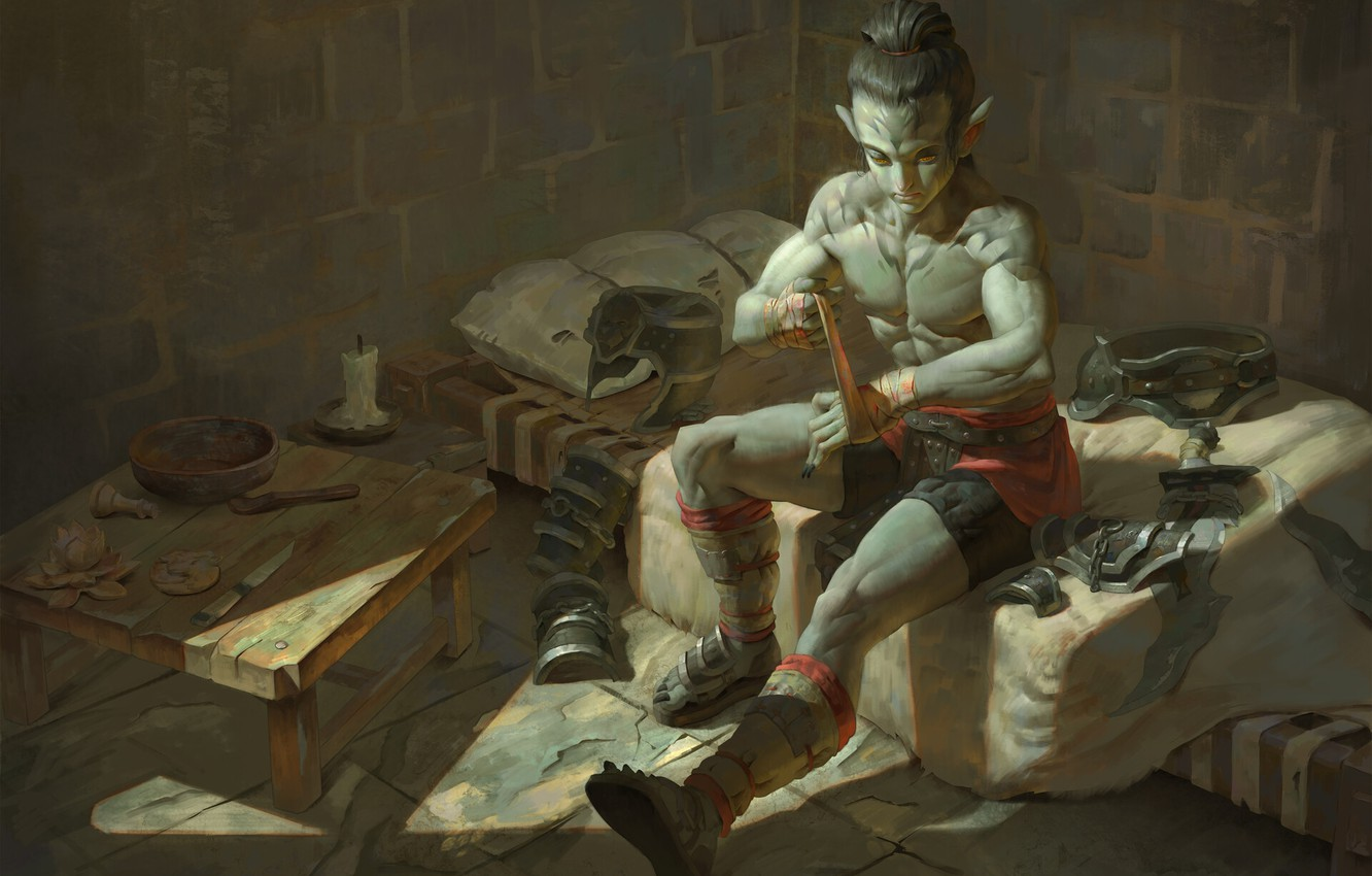 Photo wallpaper art, fighter, Ganbold Added, Наранбаатар, manual packing, fantasy
