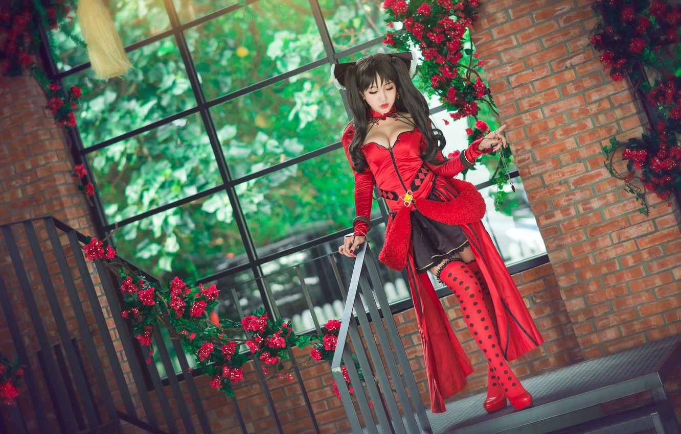Photo wallpaper greens, chest, look, girl, flowers, red, house, style, background, foliage, hair, stockings, hands, brunette, window, …