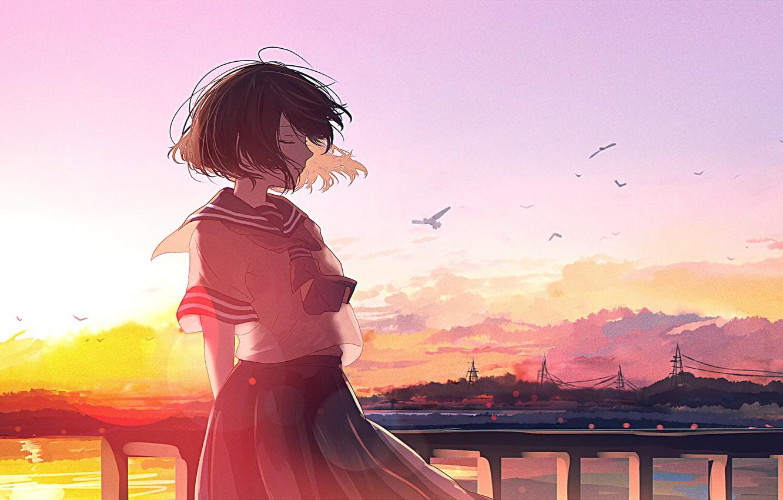 Photo wallpaper sunset, anime, art, mfua. RU