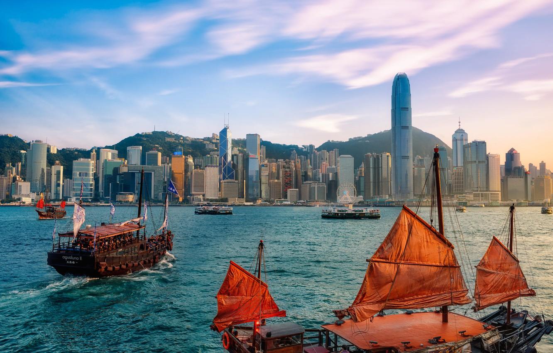 Photo wallpaper mountains, the city, building, home, ships, Hong Kong, Hong Kong, Victoria Harbour, Victoria harbour