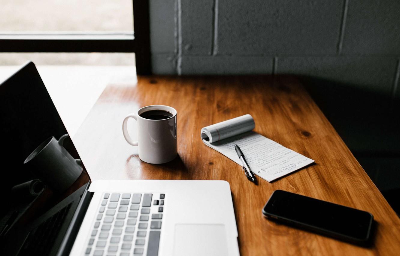 Photo wallpaper table, handle, mug, Notepad, phone, laptop, iphone, Andrew Neel