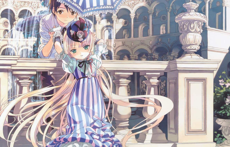 Photo wallpaper umbrella, columns, fountain, vase, hat, arch, striped, gosick, kujou kazuya, victorique de broix, long white …
