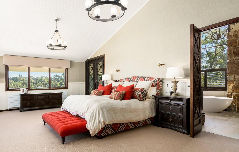 Photo wallpaper design, bed, bedroom, chest