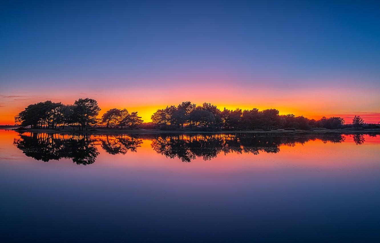 Photo wallpaper trees, sunset, lake, reflection, England