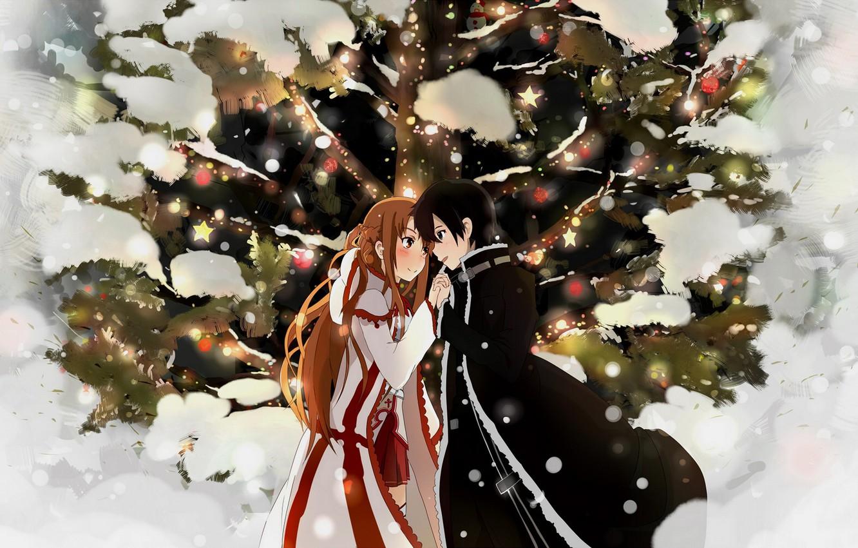 Photo wallpaper winter, anime, art, Sword art online, Sword Art Online, Asuna, Kirito