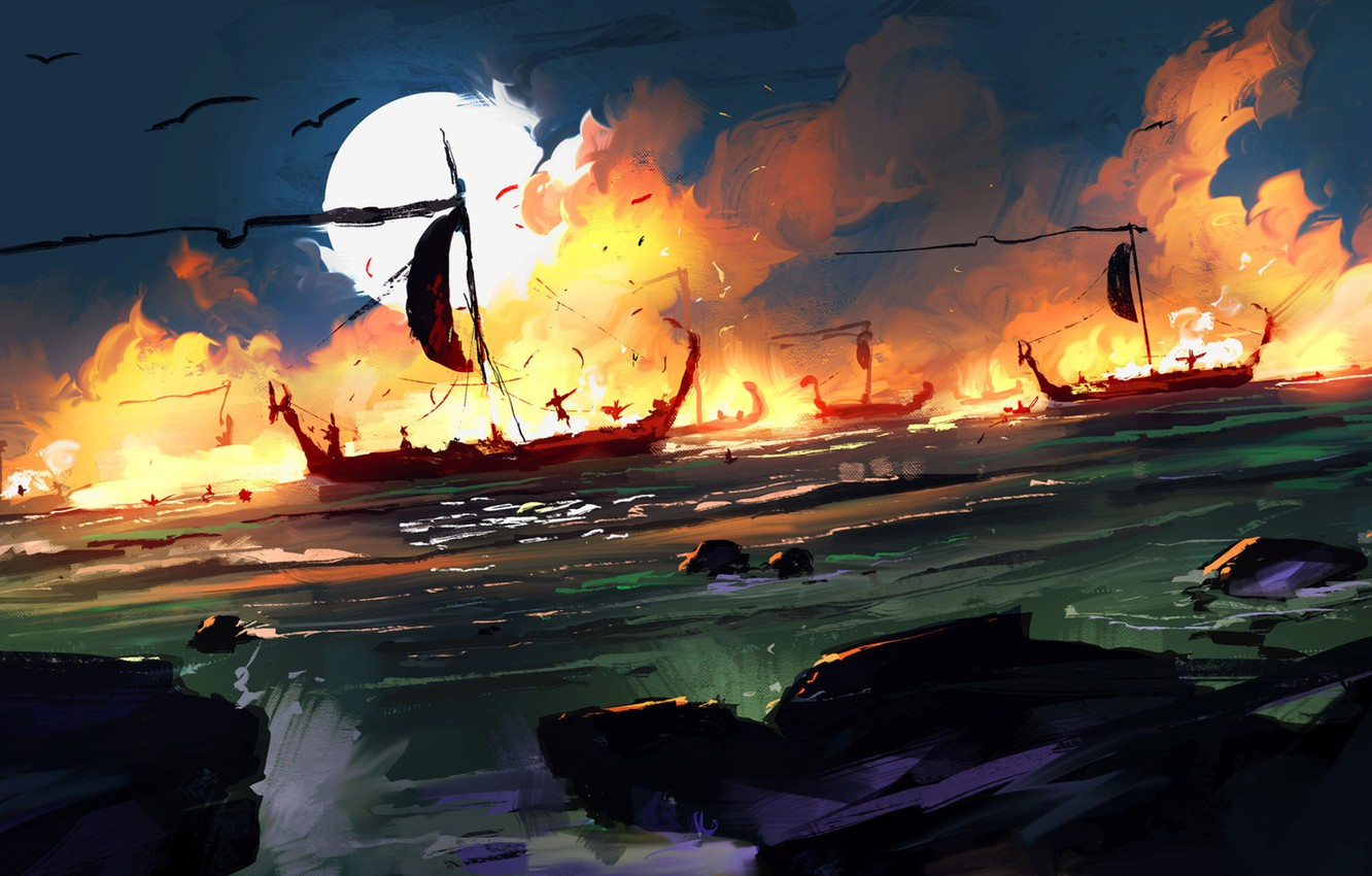 Photo wallpaper Sea, The moon, Ships, Battle, Fantasy, Concept Art, Sea battle, Dominik Mayer, Environments, by Dominik ...
