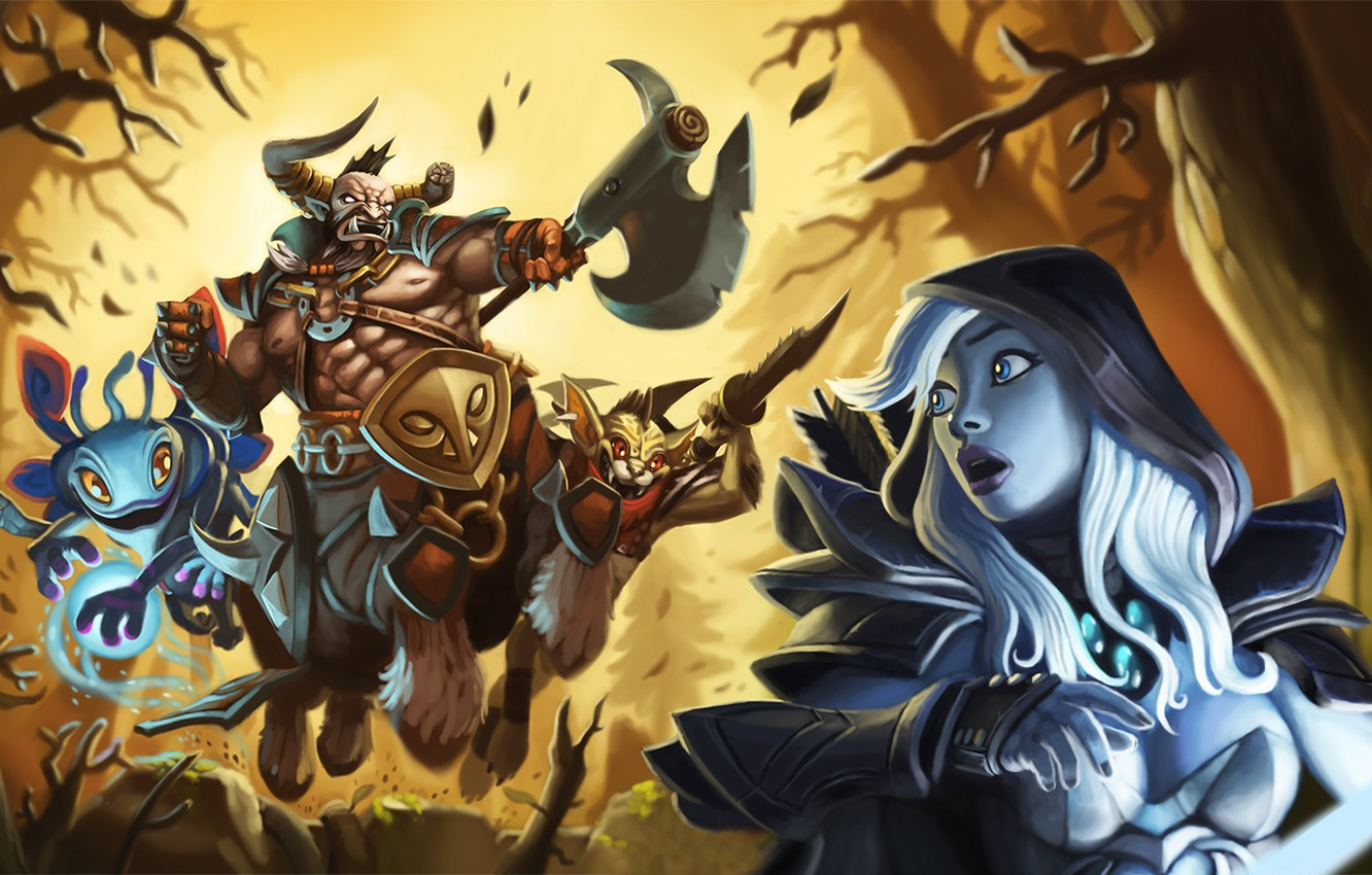 Photo wallpaper chase, Figure, Art, prosecution, Traxex, Dota 2, Bounty Hunter, Pak, DotA, Trucks, Centaur Warrunner, Drow …