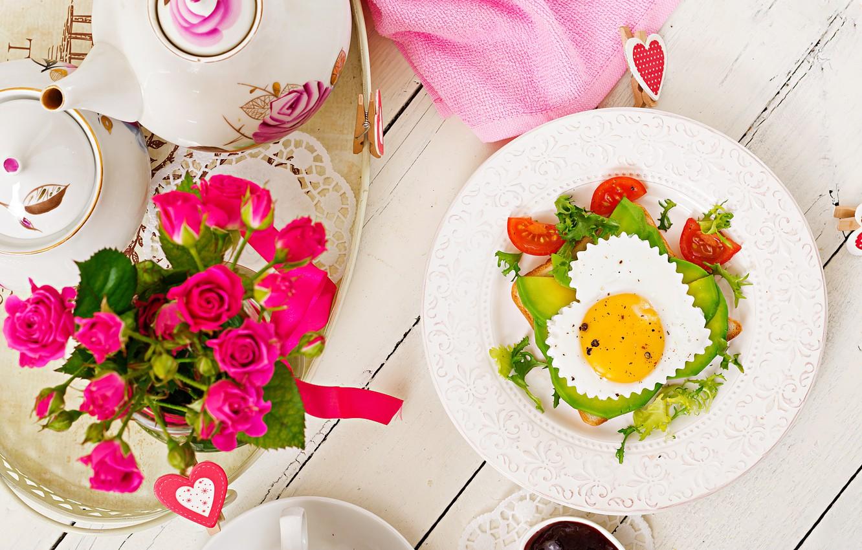 Photo wallpaper love, heart, roses, Breakfast, love, scrambled eggs, vegetables, heart, pink, flowers, romantic, eggs, breakfast, roses