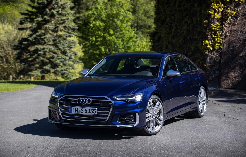 Wallpaper Audi, sedan, dark blue, Audi A6, four-door, 2019, Audi S6