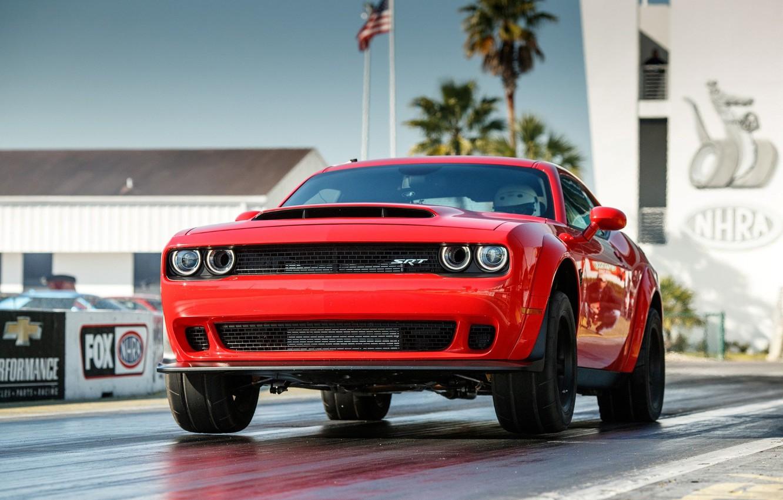 Photo wallpaper Red, SRT, Demon, Drag Racing, Dodge Challenge