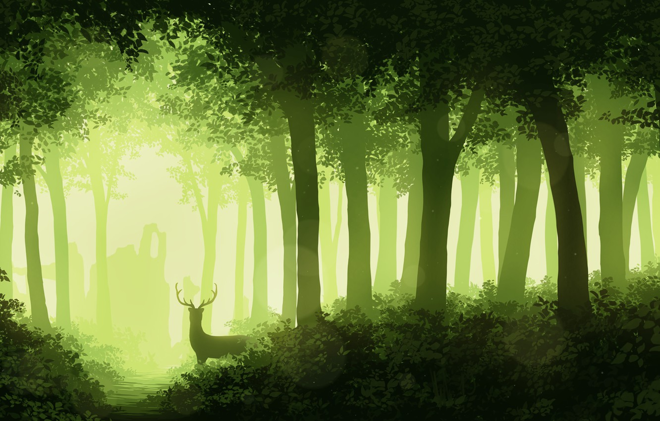 Photo wallpaper forest, trees, foliage, deer, horns, monochrome, Guides-Guides
