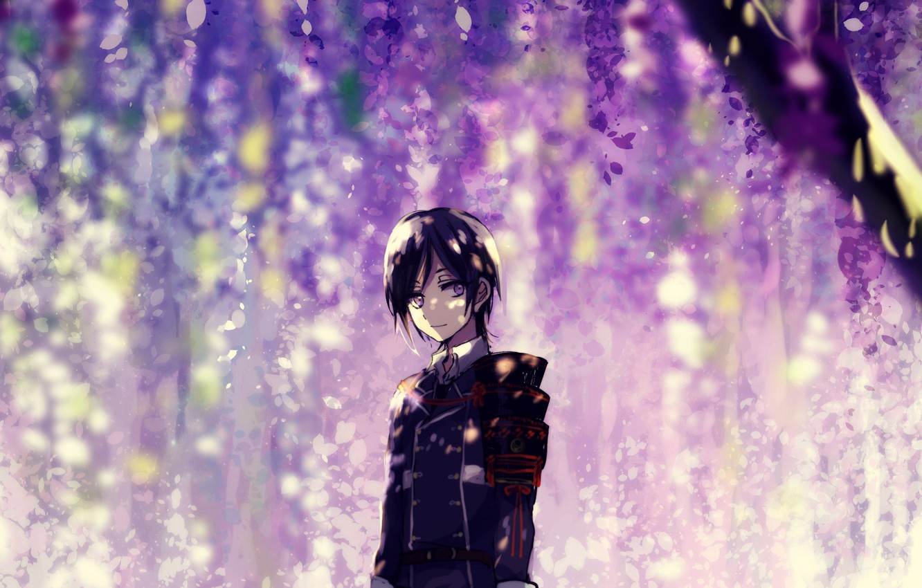 Photo wallpaper flowering, military uniform, Wisteria, Wisteria, Touken Ranbu, Namazuo Toushirou, under the tree, Dance Of Swords, …
