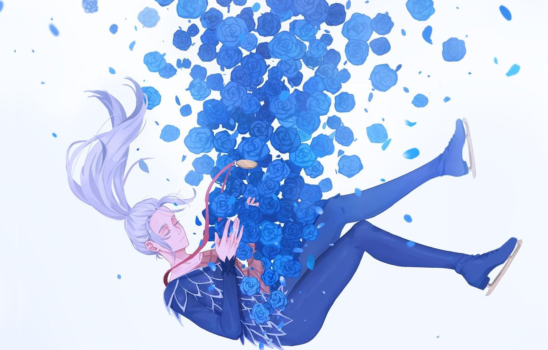Photo wallpaper roses, anime, art, soars, Yuri on Ice, Viktor Nikiforov