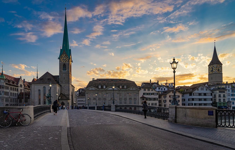 Photo wallpaper street, tower, Switzerland, asphalt.