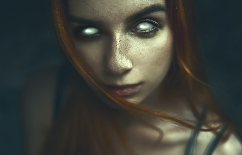 Photo wallpaper Girl, girl, bra, Darkness, long hair, photo, photographer, blue eyes, model, Eyes, lips, face, coat, …
