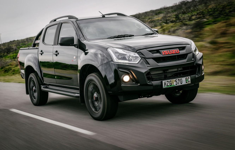 Photo wallpaper asphalt, markup, black, pickup, 2018, Isuzu, D-Max, KB 250 X-Rider Black, Isuzu KB