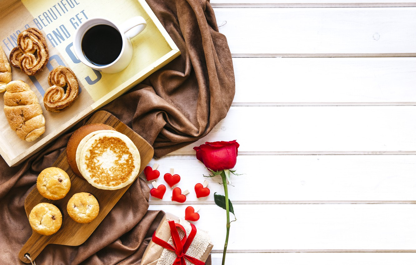 Photo wallpaper love, gift, roses, Breakfast, red, red, love, heart, cakes, romantic, coffee cup, valentine's day, croissants, …