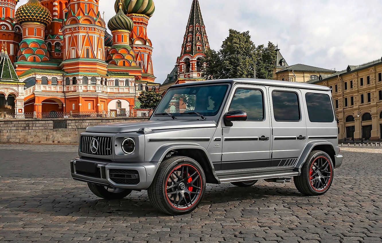 Photo wallpaper Temple, Dome, Red square, AMG, Moscow, G63, Mercedes-Benz G63 AMG, Gelendevagen