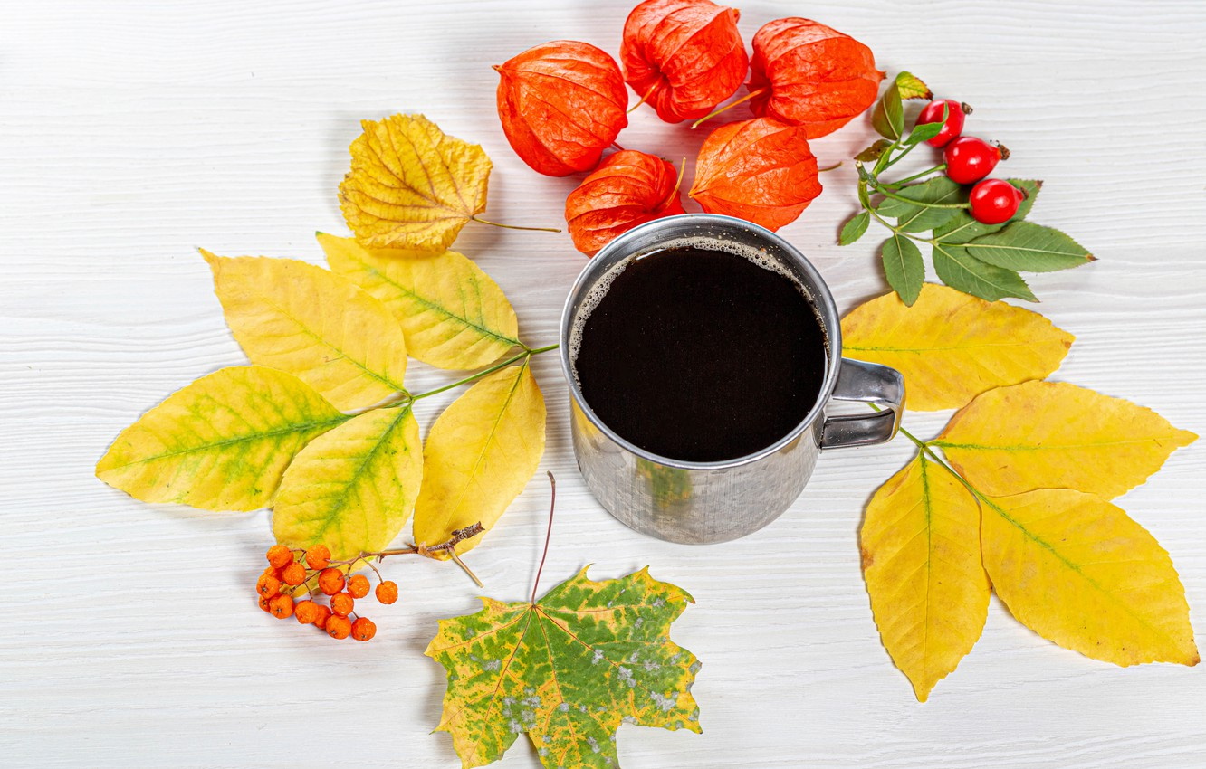 Photo wallpaper autumn, leaves, coffee, briar, mug