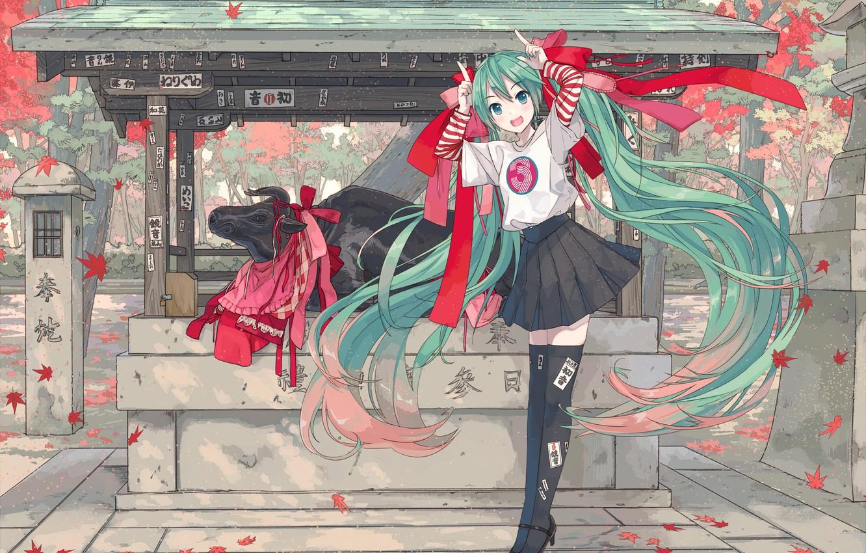 Photo wallpaper girl, Hatsune Miku, Vocaloid, Vocaloid, bull, Hatsune Miku