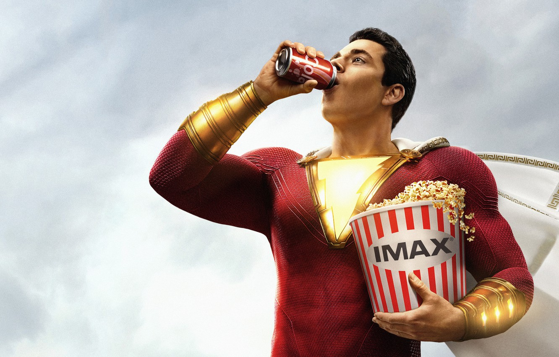Photo wallpaper hero, costume, popcorn, cola, hero, soda, DC comics, Shazam, shazam, IMAX, 2019, Billy Batson, Zachary …