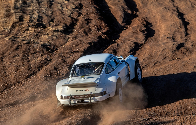 Photo wallpaper earth, dust, 911, Porsche, back, 964, 2019, 911 Baja Prototype, Russell Built Fabrication