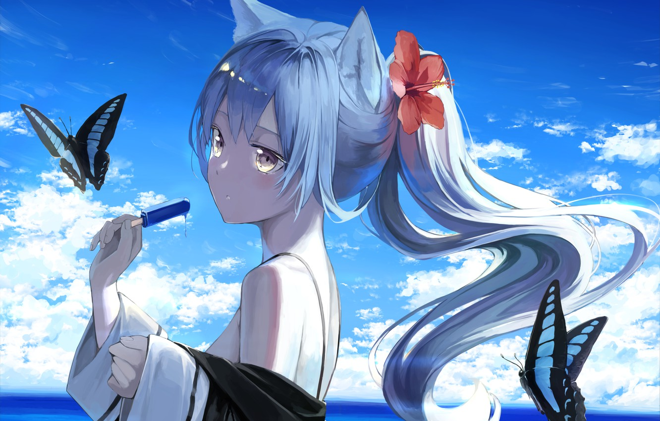 Photo wallpaper flower, the sky, girl, clouds, butterfly, ice cream, ears, hibiscus, cat ears