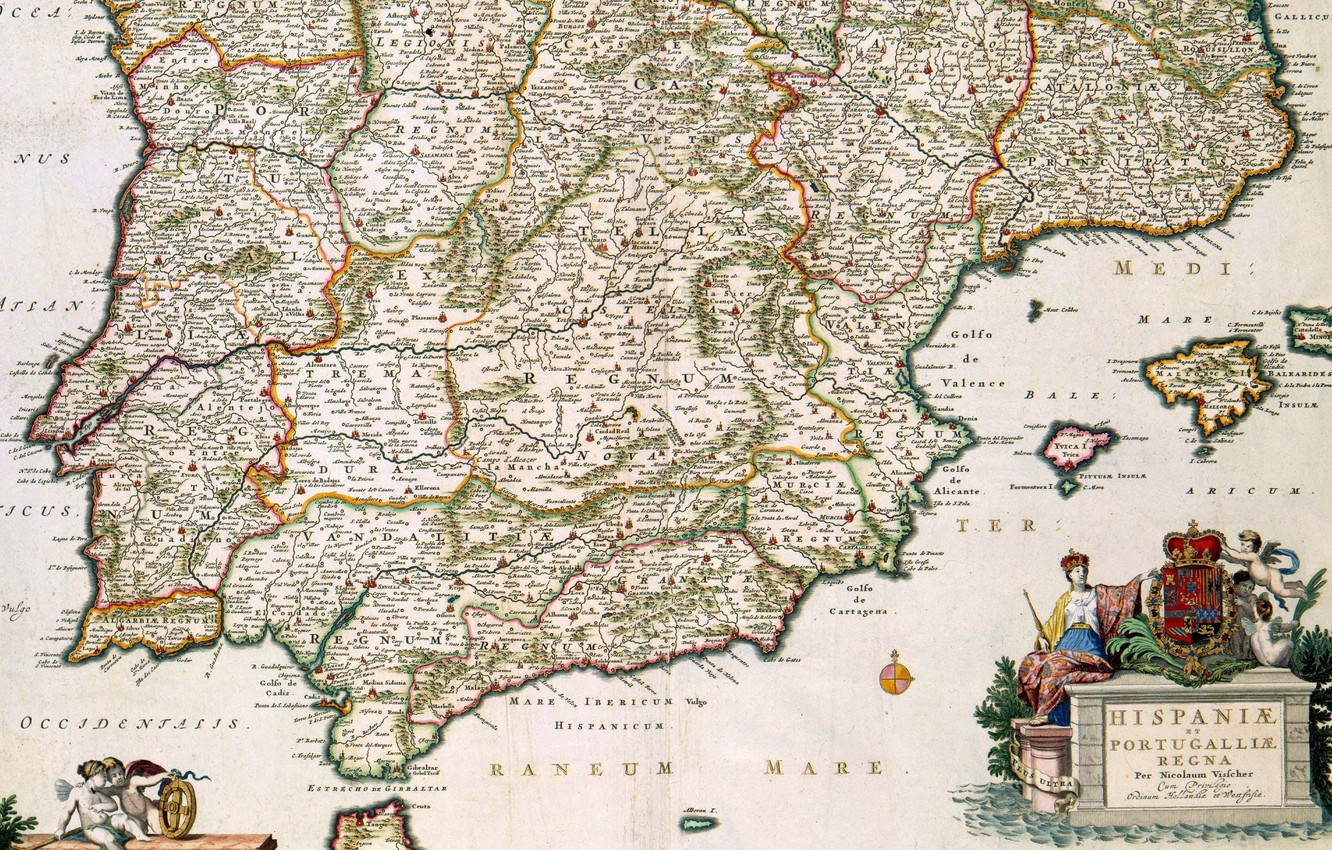 Photo wallpaper old maps, old maps, Spain and Portugal, Nicolas Visscher the younger, Nicolaes Visscher II, 1680, …