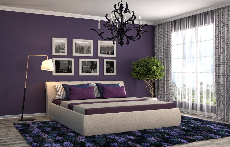 Photo wallpaper art, realism, room, bed, paintings