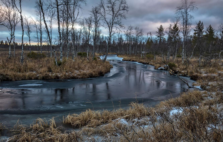 Photo wallpaper winter, nature, river
