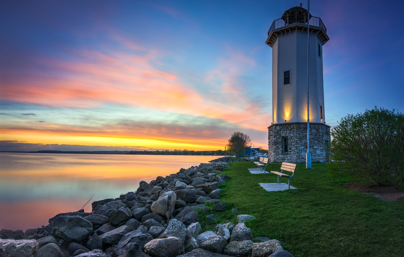 Photo wallpaper landscape, the city, lake, stones, dawn, lighthouse, morning, Wisconsin, USA, Fon-du-Lac, The Bottom Of The …