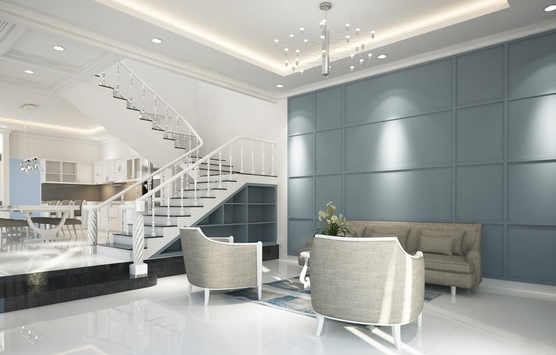Photo wallpaper design, house, room, sofa, furniture, interior, ladder, living room, dining room