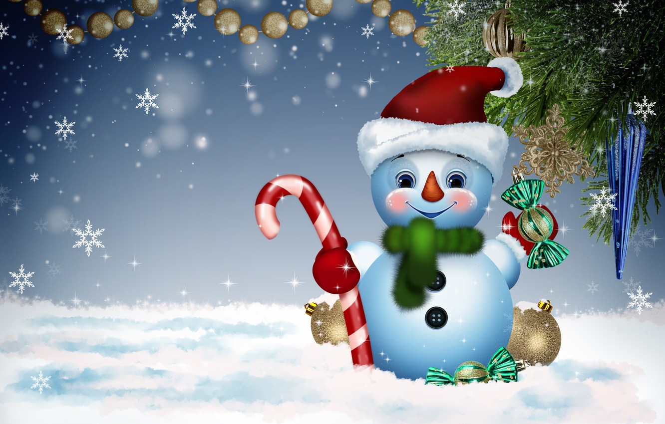 Photo wallpaper winter, background, holiday, new year, snowman, congratulations, funny, postcard, fun