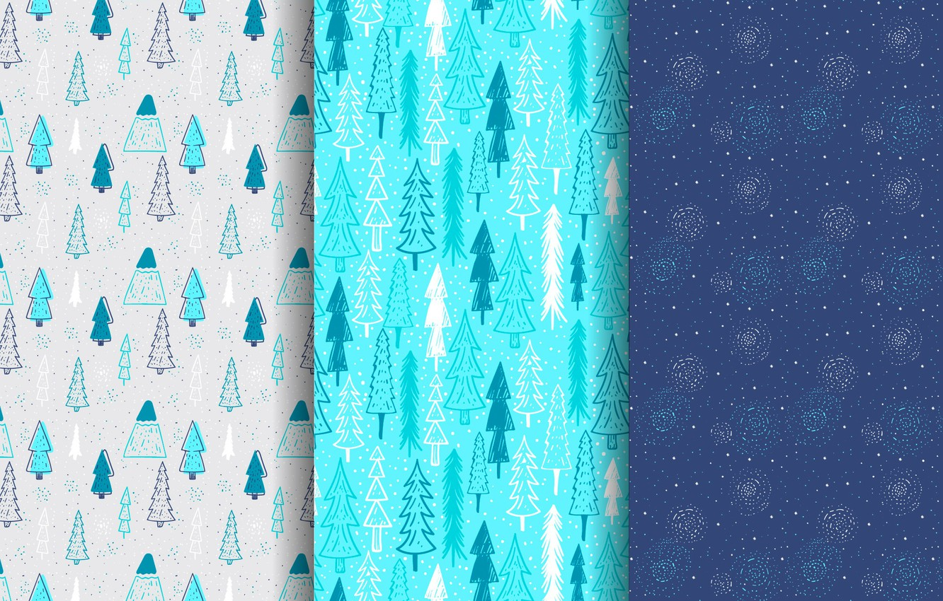 Photo wallpaper winter, snow, blue, background, holiday, blue, tree