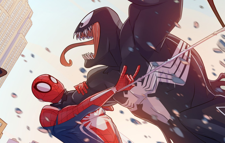 Photo wallpaper Venom, Peter Parker, Spider Man, Fight, Eddie Brock