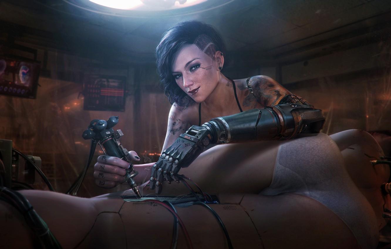 Photo wallpaper Girl, Future, Wire, Mechanics, Art, Art, Fiction, Cyborg, Illustration, Concept Art, Technology, Cyberpunk 2077, Characters, …