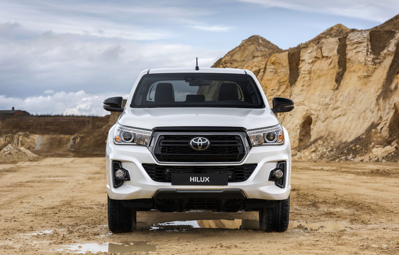 Photo wallpaper white, puddles, Toyota, front view, pickup, Hilux, Special Edition, 2019