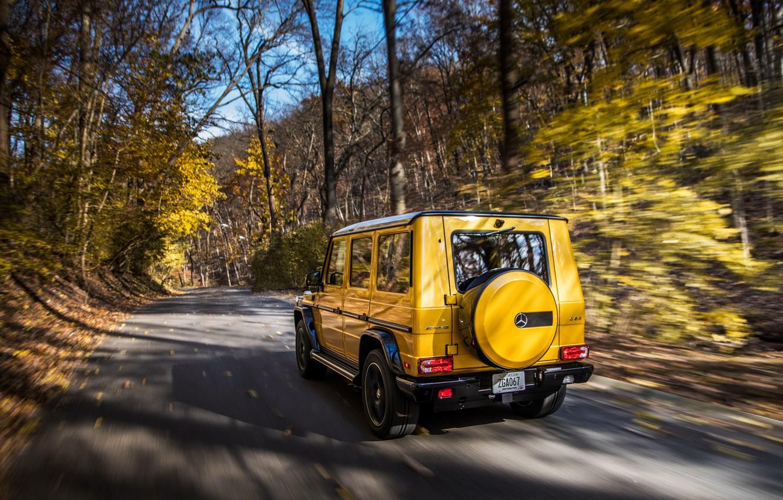 Photo wallpaper autumn, Mercedes-Benz, rear view, AMG, G-Class, Gelandewagen, G63, 2017, Colour Edition