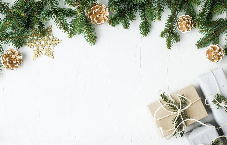 Photo wallpaper decoration, New Year, Christmas, gifts, Christmas, wood, New Year, decoration, xmas, gift box, Merry, fir …