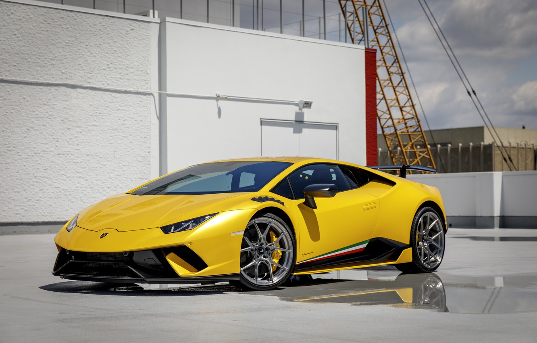 Photo wallpaper Lamborghini, Yellow, VAG, Performante, Huracan, Roof, Sight, LED