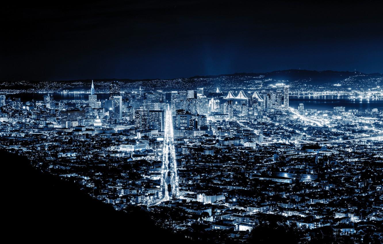 Photo wallpaper city, lights, night, San Francisco, blue night