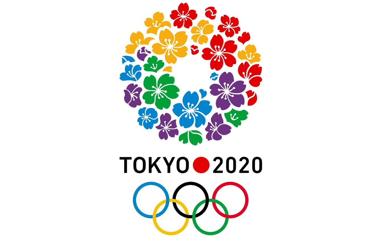 Photo wallpaper colorful, sport, logo, minimalism, olympic games, white background, simple background, Tokyo 2020