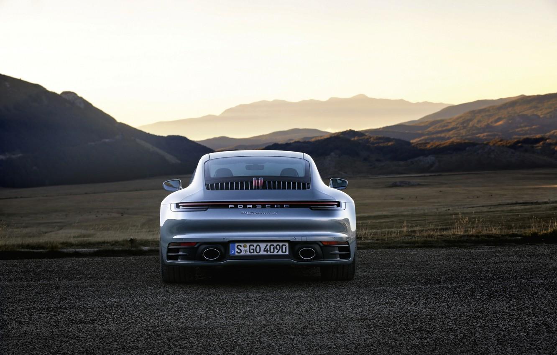 Photo wallpaper asphalt, mountains, coupe, plain, 911, Porsche, rear view, Carrera 4S, 992, 2019