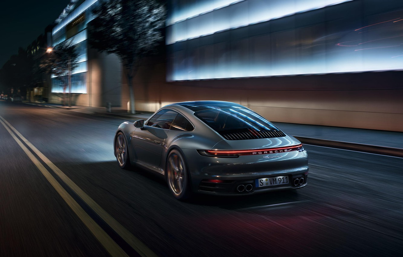 Photo wallpaper machine, light, night, the city, lights, lights, sports, Porsche 911 Carrera S, 992, 2019